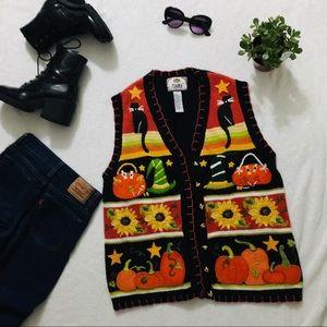vintage autumn witchy cat sunflower vest